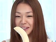 Girl had to demonstrate blowjob skills using man's penis as she had dropped down the banana 7