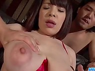 When male was penetrating Asian's fluffy his friends came on her big natural boobs 4