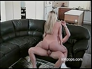 Smiling blonde with trimmed pussy and pierced belly button gets fucked at the casting