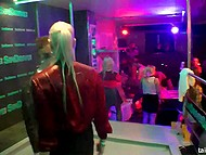 Even restless stripper's penis couldn't distract blonde girl from licking pussy at the party 11