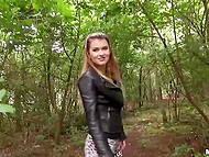 Man with camera gave hottie some cash to have sexual training in the forest 3