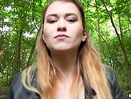 Man with camera gave hottie some cash to have sexual training in the forest 4