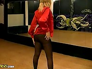 To let dancer not be shy and feel free pals shoved cock into mouth and made her suck 5