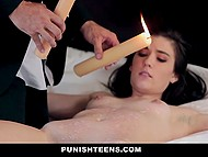 Dark-haired lass never had anything with candles and quick-witted dude took advantage of it 8