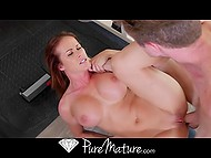 Instructor could no longer resist and fucked buxom redhead after she had stripped down 10
