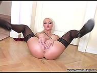 Big-boobied blonde with makeup shoves manicured fingers inside smooth-shaven cunny 9