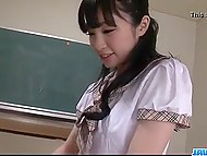 Pretty schoolgirl stayed after the lessons to appease favorite teacher with blowjob 5