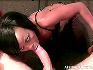 White dude relaxed receiving awesome blowjob from African dame in the homemade scene 8