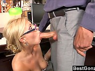 Boss allowed hot secretary to go home but she preferred to stay and fuck him in the office 4