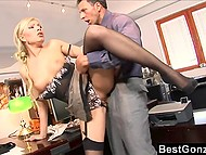 Boss allowed hot secretary to go home but she preferred to stay and fuck him in the office 7
