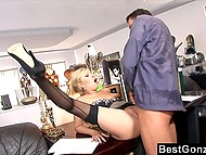 Boss allowed hot secretary to go home but she preferred to stay and fuck him in the office 9