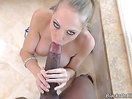To raise black penis capricious blonde has just to strip in front of her Ebony lover 5