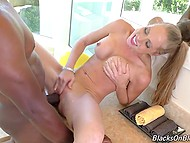 To raise black penis capricious blonde has just to strip in front of her Ebony lover 8