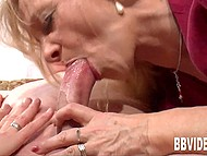 Mature blonde observes excitedly how married couple is having sex and sucks man's cock in the end 8