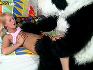 Bulky panda was roaring quietly while was fucking blonde-haired babe with huge instrument 3