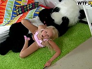 Bulky panda was roaring quietly while was fucking blonde-haired babe with huge instrument 5