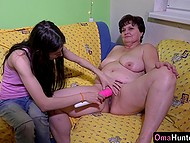 Dark-haired lass found a photo of mature lady and persuaded boyfriend to try something new 6