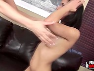 Cougar with massive hooters and dark-haired girlfriend had some fun by sharing saliva 10