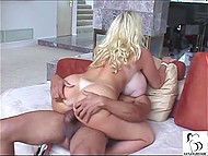 Baroness with gigantic globes Kayla Kleevage is tired of slutting and sat down on black rod 4