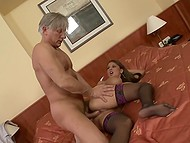 Goddess with sizeable hooters liked everything during sexual act with grey-haired Don Juan 6