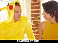 Girl is big fan of pokemon so crafty dude dresses like Pikachu and fucks her 4