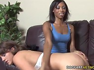 Black-skinned doll shows young girlfriend how to distract having a lot of sex toys
