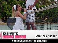 Красотка August Ames не так хороша в теннисе, как в пежне с чёрненьким приятелем 7
