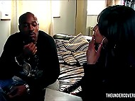 Black interviewer came to man to ask some questions but he stuck ramrod between her legs 4