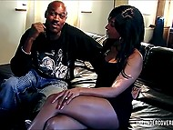 Black interviewer came to man to ask some questions but he stuck ramrod between her legs 7