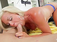 Guy theatricalized first but blonde knew how to talk and seduce such kind of tight-ass 9