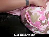 Приёмные дочери совсем выросли и решили сделать сексуальный сюрприз своим отчимам 6