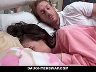 Приёмные дочери совсем выросли и решили сделать сексуальный сюрприз своим отчимам 7