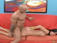 Bald dude felt a burst of energy after blowjob and actively penetrated slender brunette 9