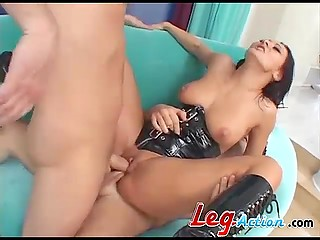 Hardcore fuckers double penetrated lonely asshole of slutty Romanian MILF in black corset