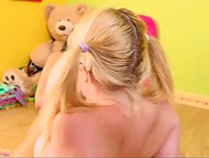 Honey with ponytails entered her room and found naughty neighbor playing with adult toys 11