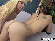 Depraved colleens shared saliva and slowly rubbed it against slender bodies 10