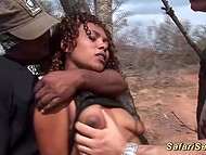Men had fun with black girl in safari before taking her to cozy place and organizing foursome 4