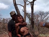 Men had fun with black girl in safari before taking her to cozy place and organizing foursome 5