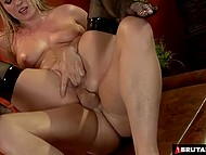 Blonde in fishnet stockings gave deepthroat blowjob and took part in rigid anal sex 4