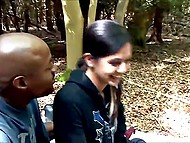Raunchy girl managed to have sex with dark-skinned guy in the forest while her boyfriend walked over car keys 4