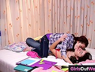 Young lesbians with hairy peaches fondle each other ardently instead of preparing for exams 5