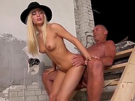 Teenage white-haired sexpot seduced foreman at a construction site and brought him to ejaculation in her mouth 10