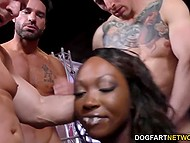 Ebony dancer went to the nightclub and the strippers' crew checked her fucking skills 4