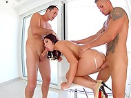 Slutty Hungarian Felicia Kiss with slim legs takes cocks in both holes at the same time 5