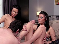 Bearded submissive had to lick feet and buttholes of dominating stepsisters in front of watcher 9