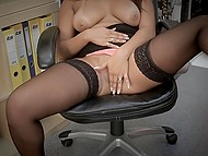 It was break time and office worker Rebecca Pinar took advantage of it to masturbate 7