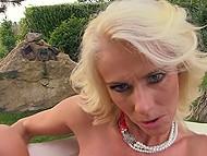 Adult blonde got bored and went out to park to perform a sex show recording it on camera 11