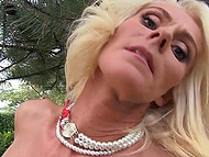 Adult blonde got bored and went out to park to perform a sex show recording it on camera 7