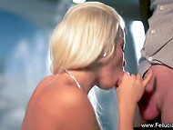 White-haired diva Fellucia Blow sucked steadfast dick and obtained semen on pierced tongue 7