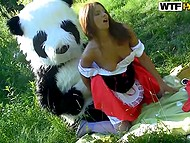 Unlike the wolf, salacious panda was going to fuck Little Red Riding Hood, not to eat